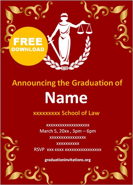 Free Printable Law Graduation Invitations