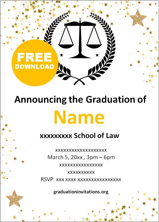 Printable Law Graduation Invitations