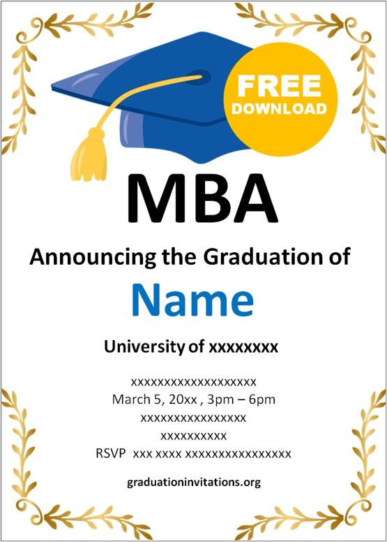 MBA graduation invitations ideas