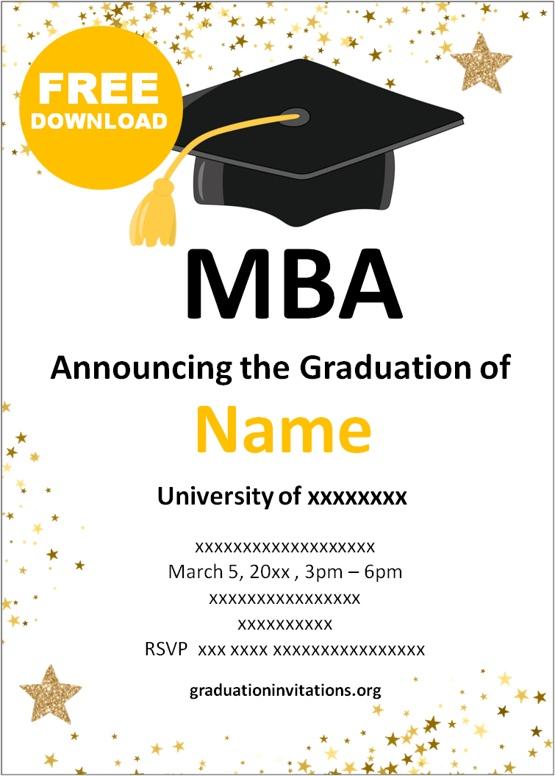 MBA graduation invitations templates