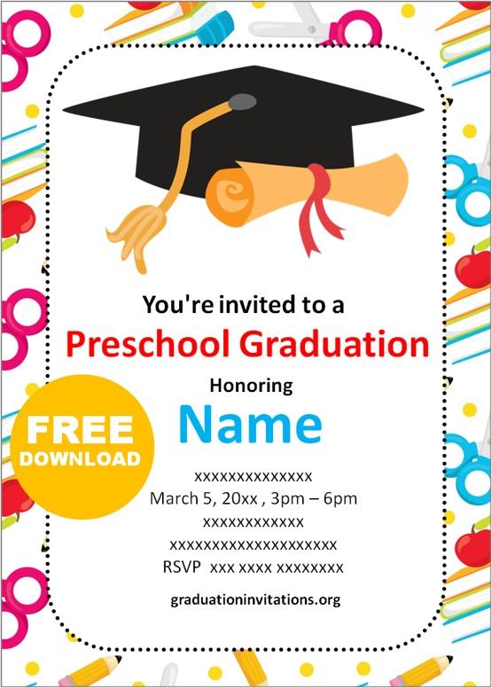 preschool Graduation Invitations Templates